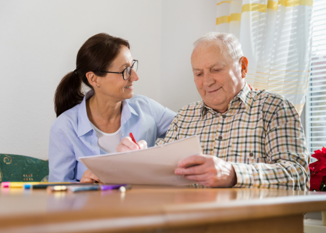 HSCP Occupational Therapist with elderly patient